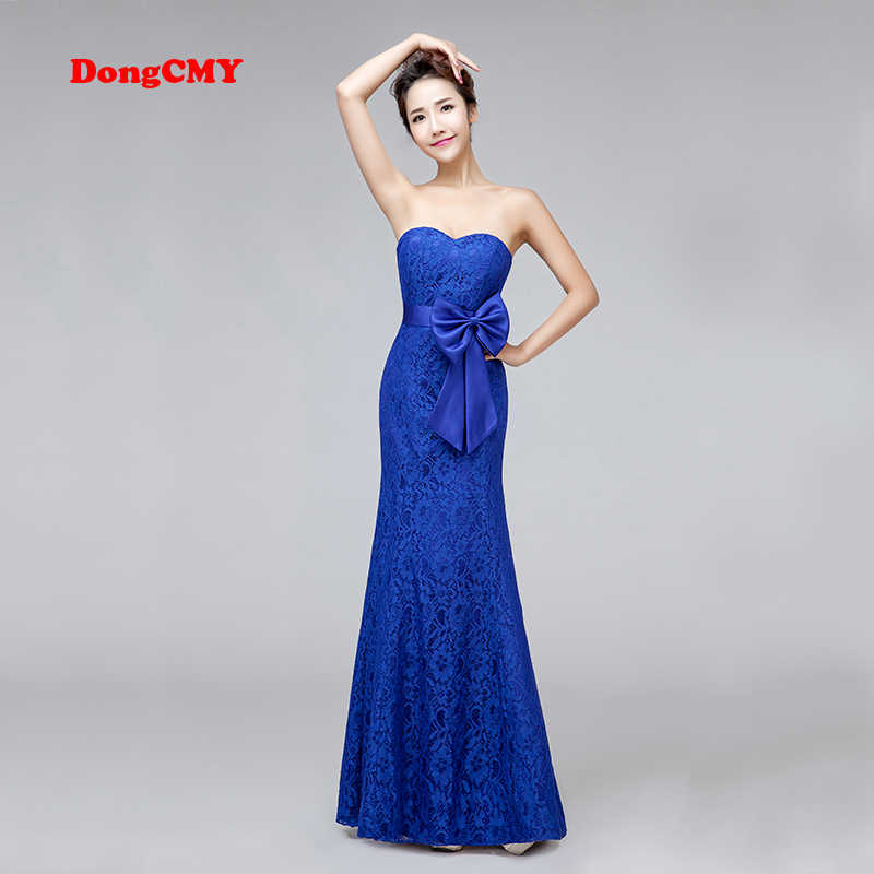 DongCMY New 2018 long design mermaid Plus size bride bandage royal blue V- Neck Bridesmaid 288fe190a26a