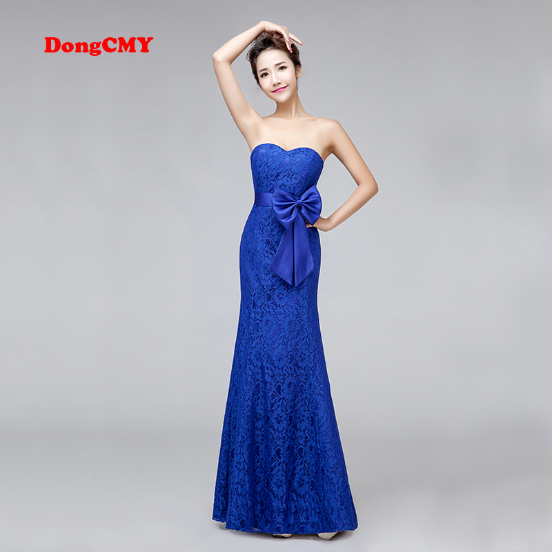 DongCMY New 2019 long design mermaid Plus size bride bandage royal blue V-Neck   Bridesmaid     Dresses