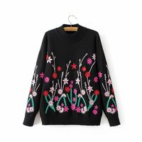 Winter Women Sweater Floral Embroidery Warm Full Sleeve O Neck Computer Knitted Black Pullovers Sweater