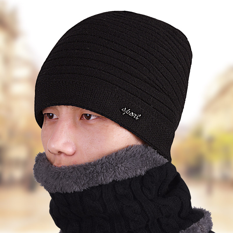 Winter hat male winter  knitted hat man thickening thermal plus velvet liner male winter knitted hat winter