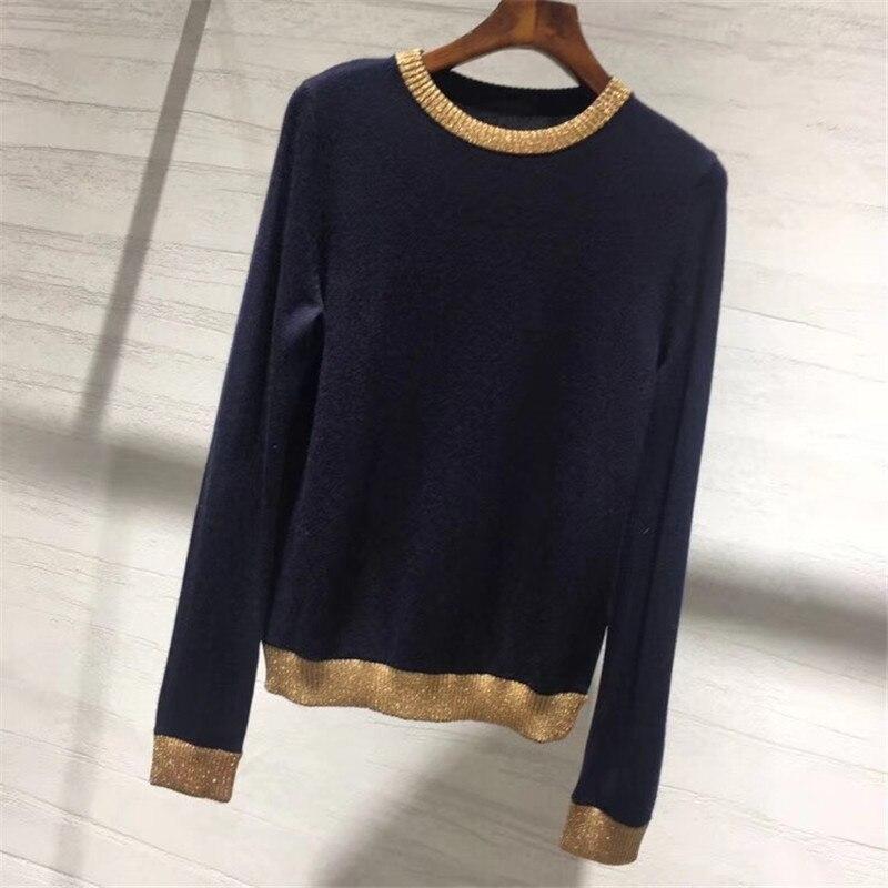 Женский свитер пуловеры осень Повседневный с круглым вырезом длинный рукав свитер женский 2018 высокое качество кашемировый свитер