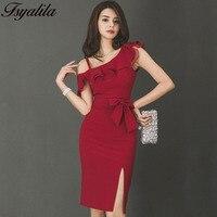 Sexy Korean Style Ruffle Dress Summer Women 2018 Elegant Wrap Midi Dress Party Vestido One Shoulder Bodycon Tunic Red New Satin