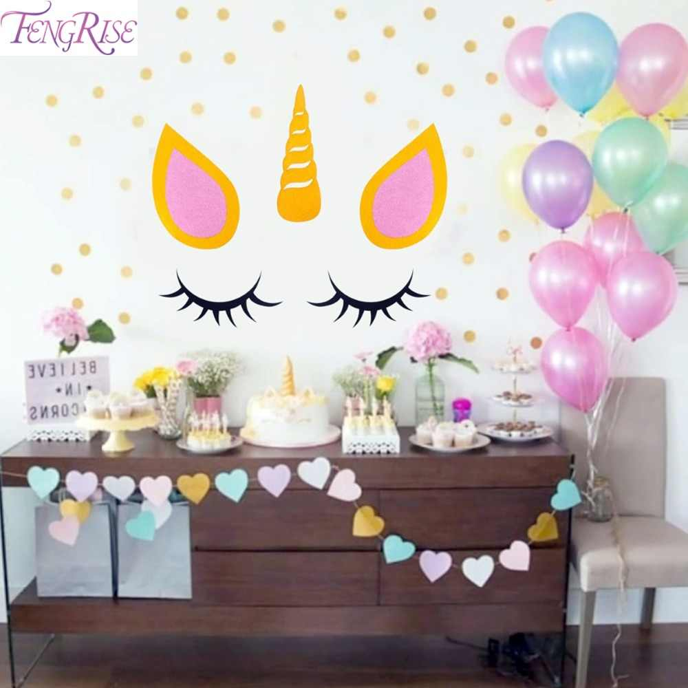 Detail Feedback Questions About FENGRISE Sleepy Unicorn Eyelash Stickers Birthday Party Theme Decor Baby Shower Room For Kids
