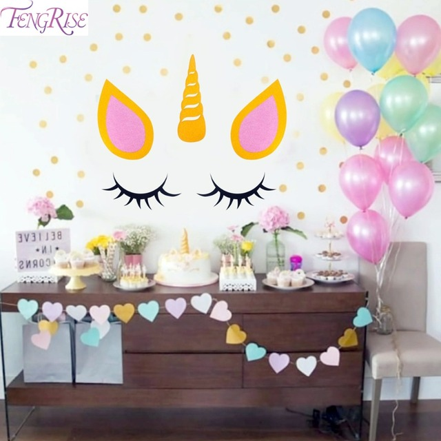 Fengrise Sleepy Unicorn Eyelash Stickers Unicorn Birthday Party