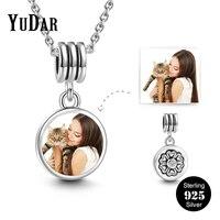 אישית 925 כסף עגול כותרת תמונה אוהבי מתנות למשפחה שם Engravable עתיק שרשרת בנות YDS-1094