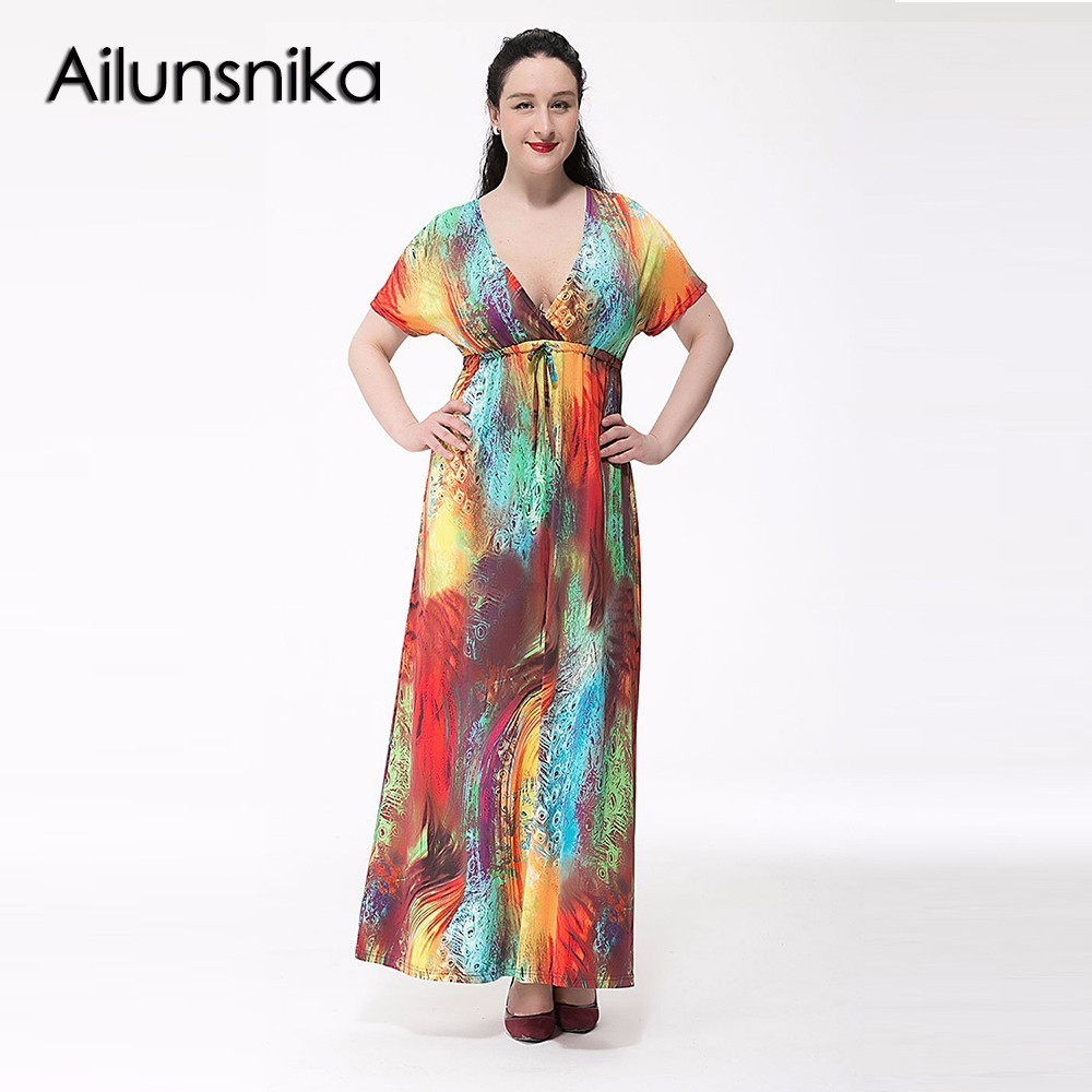 Ailunsnika Women Short Sleeve Bohemian Beach Dress 2018 Summer V Neck Peacock Feather Print Maxi Dress Plus Size Vestidos SQ0069