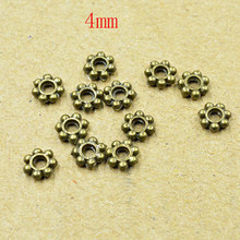 FLTMRH 20PCS 4mm Tibetan Gold bronz Tone Daisy Wheel Flower Charm Loose Spacer Metal Beads For Jewelry Making Needlework Acces(China)