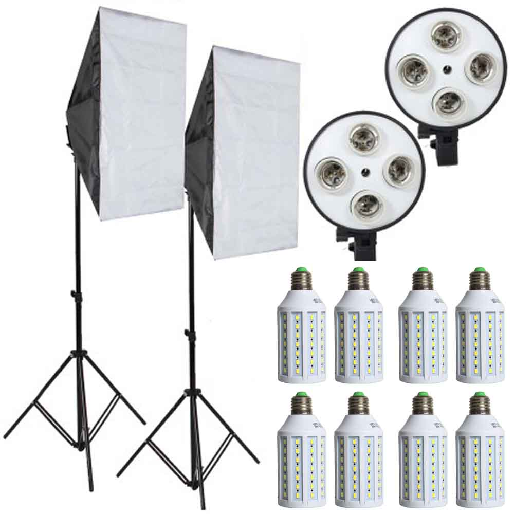 8pcs Led Bulbs Professional Camera Softbox With Light Stand Photographic Equipment For DSLR Photography Studio Lightbox cononmark 400ws g4 0 hss photographic studio outdoor strobe flashlight 3g remote video light for dslr camera