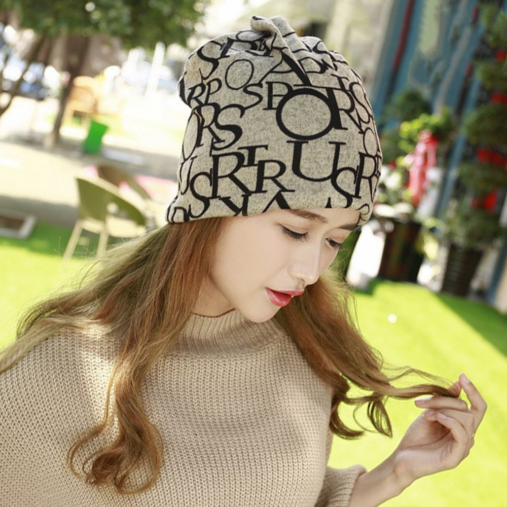 Fashion Winter Fall Women's Hat Letter Prints 2 Use Cap Knitted Wool Scarf Beanies Women Hip-Hop Skullies Warm Girls Gorros Y1 winter hats for women thick beanies gorros de lana mujer knitted wool skullies warm snapback hip hop cap bonnets en laine homme
