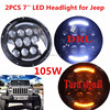 Newest Pair 7inch Round 105W Led Headlights High Low Beam And Yellow Turn Signal For Jeeps