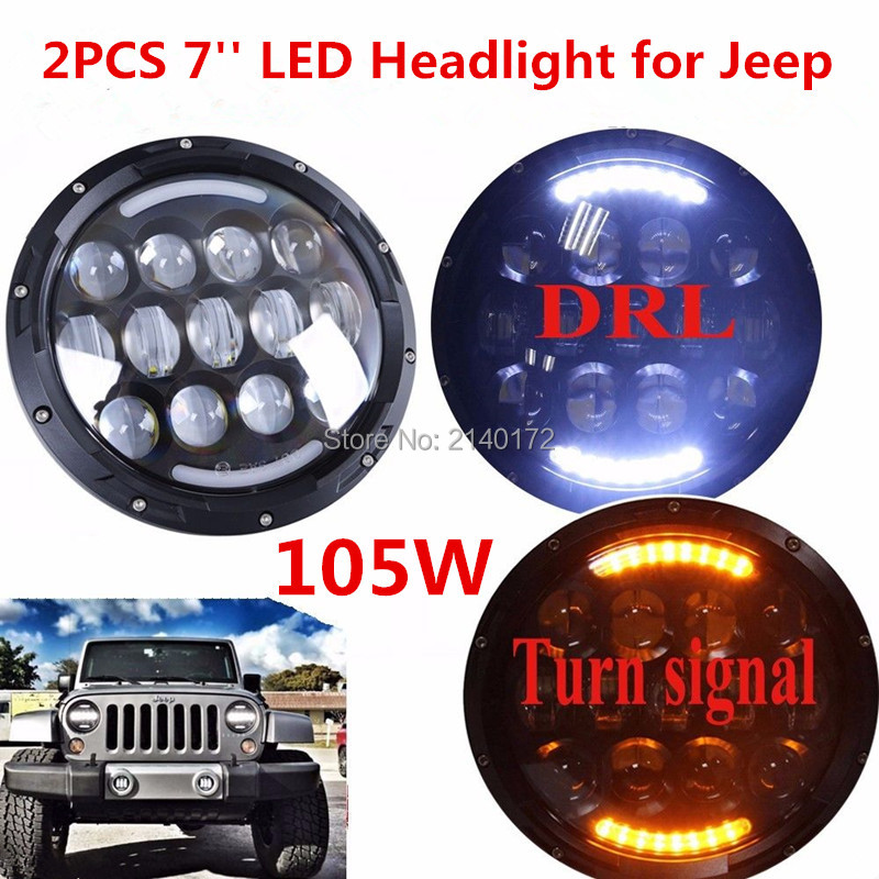 Newest Pair 7inch Round 105W led headlights high/Low beam and Yellow turn signal Lights for Jeep JK Wrangler Hummer 7 inch 80w round led headlights high