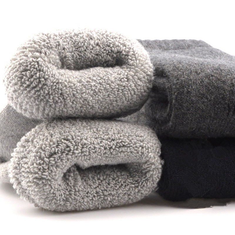 3 Pairs=6 Pieces 2018 Winter New Thick Soft Wool Socks Men's Winter Tube Terry Socks Solid Color Super Thick Warm Snow Socks