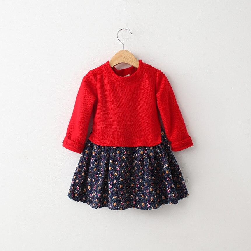 2015 New children autumn sweater dress girl s fall long sleeve dress