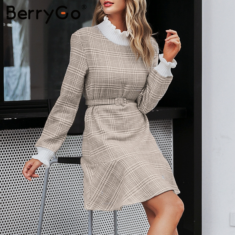 Image 3 - BerryGo Winter plaid mini dresses women Turtle neck tweed short dress female Vintage ruffle sash autumn office ladies vestidosDresses   -