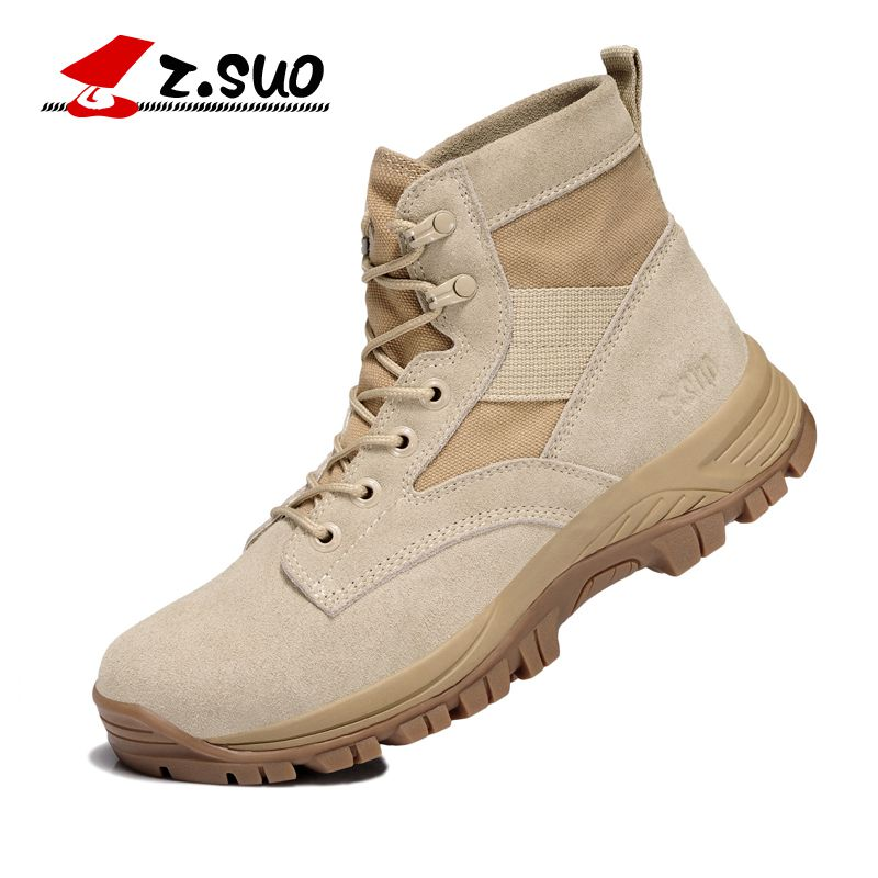 Z. Suo men 's shoes, suede breathable Martin boots, western men outdoor tube in tactical boots,Hiking Shoes