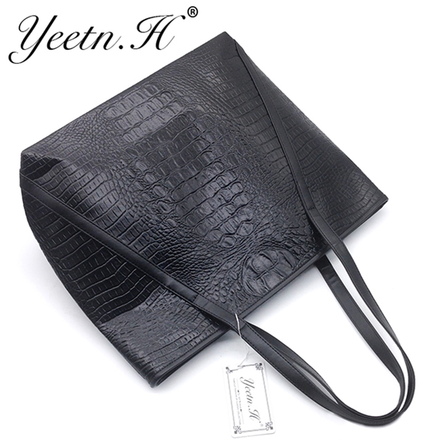 2017 Hot Sale New Arrival Alligator Leather Women Handbag Fashion Daily Casual Tote Bags Street  Style Black Shoulder Bag  M5652