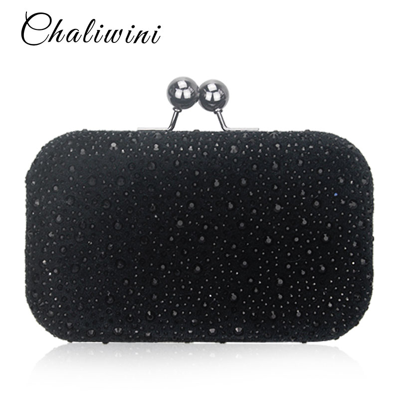 New Shoulder Hasp Crystal  Evening Clutch With Chains Womens Party Purse Wedding Bridal Wallet Toiletry Handbags Crystal Bags