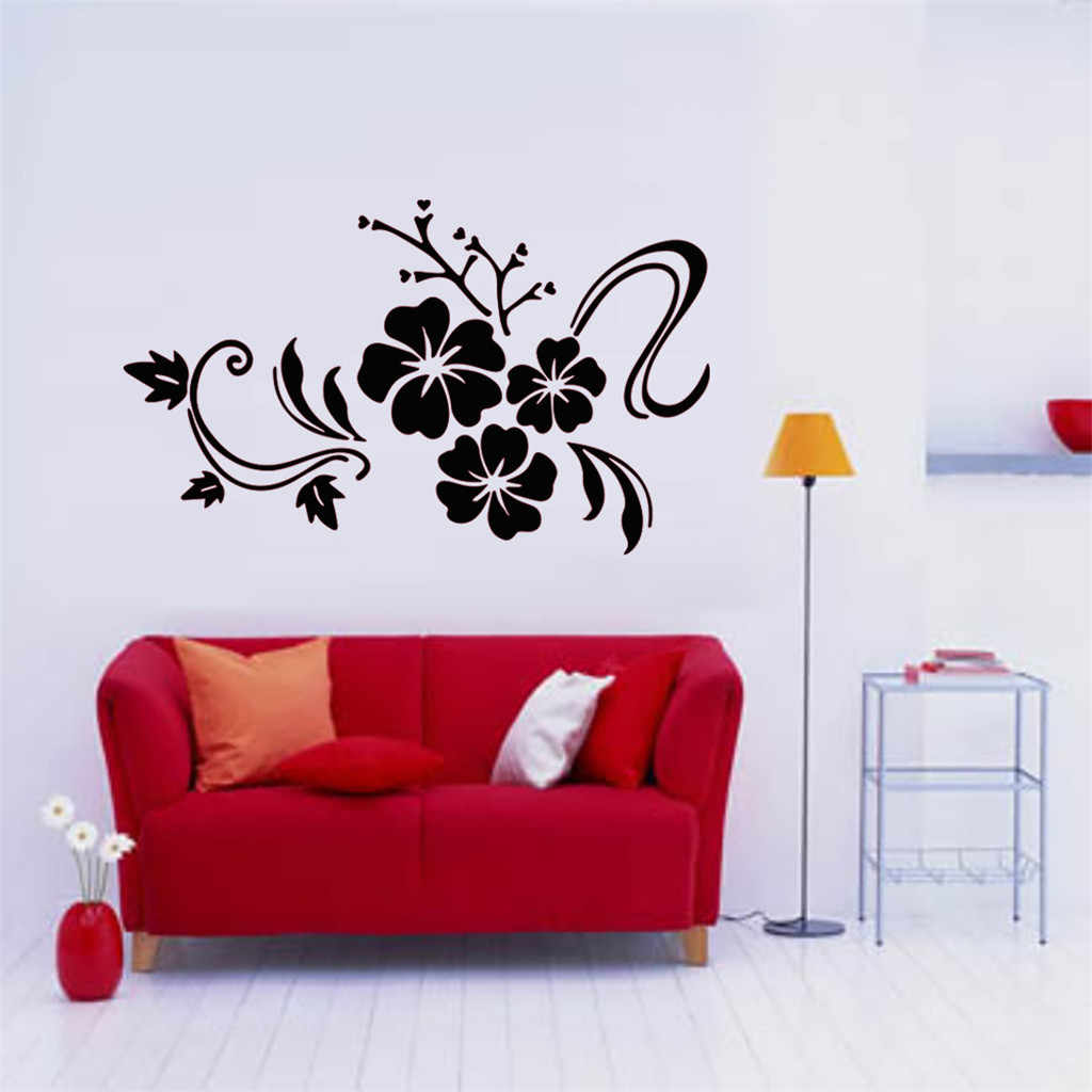 KAKUDER Wall Stickers Balck Flower Wall Stickers Removable Sofa Art DIY Home Decoration For Living Room Kids Bedroom 52.MAR.1