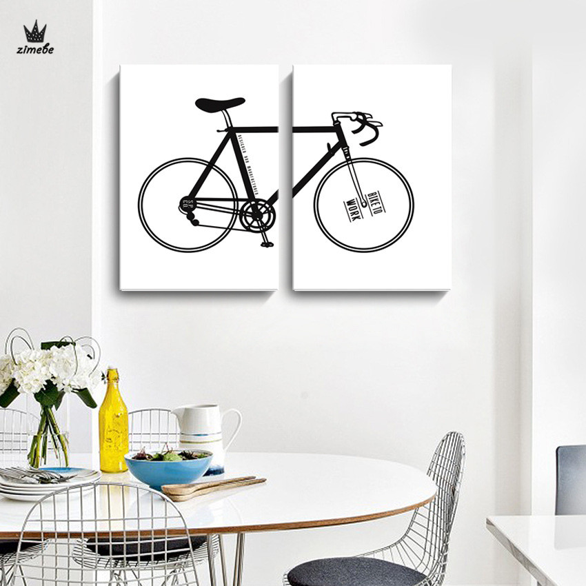 Bicycle Home Decor: Aliexpress.com : Buy Modern Black And White Bicycle Canvas