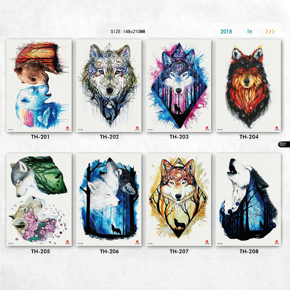 all kinds of fierce wolf tattoo stickers for women men fresh color wolves patterns arm tatoos sleeve fake body tattoos