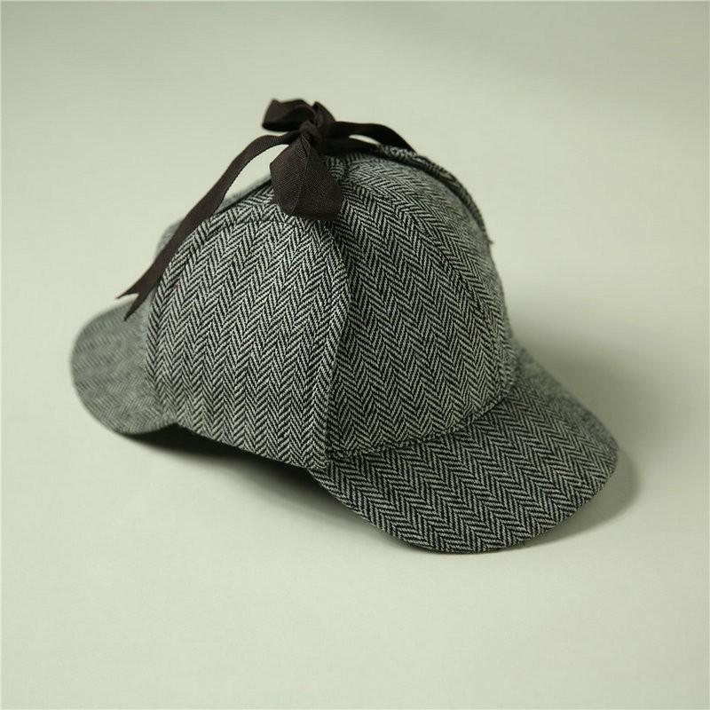 Cosplay Sherlock Holmes Cap Detective Hat Doctor Costume Adult Deerstalker Houndstooth2