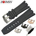 28mm Silicone Watch Band Black Silicone Watch Strap Rubber Bracelet Stainless Steel Buckle Durable Replacement Watchband AP138