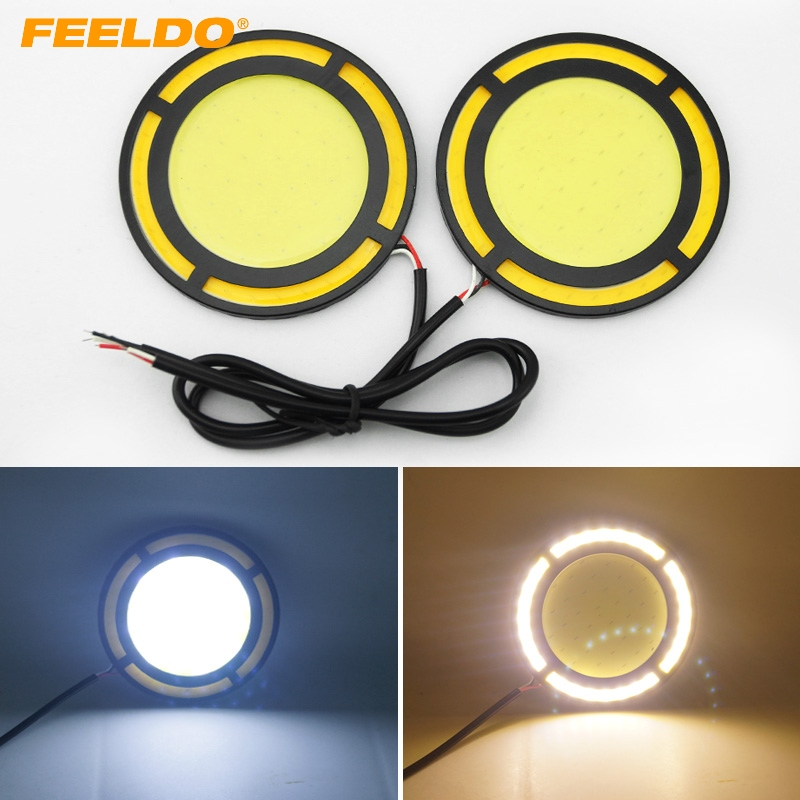 2Pcs DC12V 30W COB DRL Round LED Light Car Daytime Running Light White DRL Yellow Turn Light #FD-1422 939
