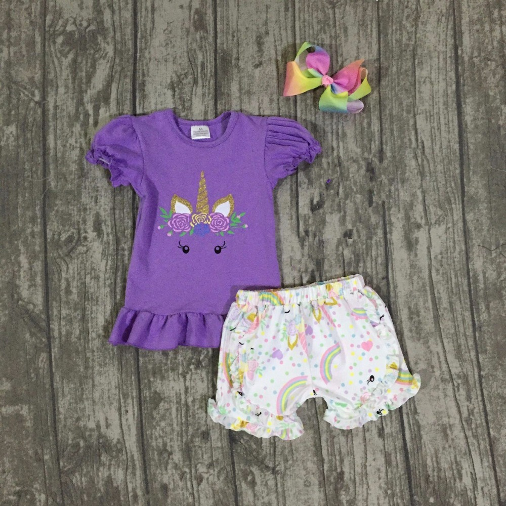 baby girls summer unicorn outfits kids unicorn shorts boutiques clothes girls summer lavender unicorn topclothe with bows