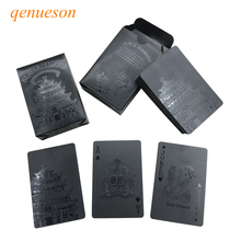Hot New Waterproof PVC Poker High Quality Black diamond Plastic Bridge Playing Cards Novelty Collection Board Game Gift qenueson