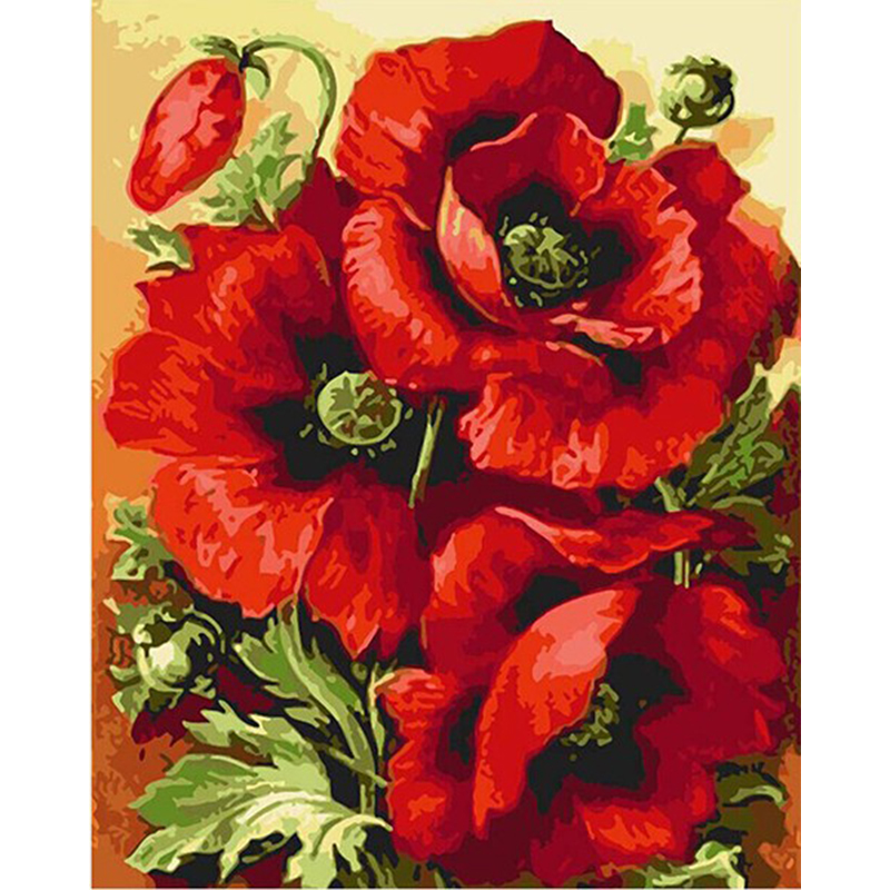 Frameless Red Flower Diy Digital Painting By Numbers Modern Wall Art Canvas Painting Home Decoration For Living Room Artworks