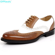 Classic Full Brogues Handmade Wedding Party Derby Shoes Business formal shoes Genuine Leather splice Men Dress Shoes цена