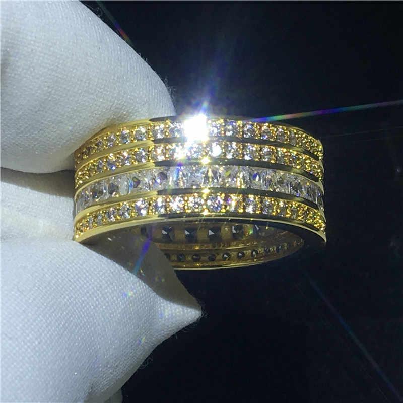 Choucong роскошное кольцо полный 5А Циркон Cz Желтое золото заполненное 925 серебро обручальное кольцо кольца для мужчин и женщин ювелирные изделия