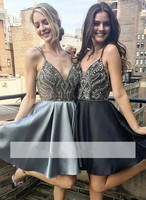 Silver 2019 Homecoming Dresses A line Spaghetti Straps Beaded Pearls Short Mini Elegant Cocktail Dresses