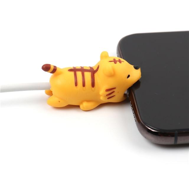 FFFAS Animal câble morsure protecteur enrouleur bande dessinée couverture protéger étui fil organisateur pour Apple IPhone 7 8 X Plus Samsung écouteur