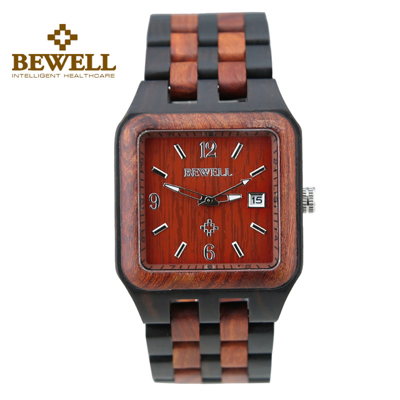 ФОТО BWELL Red and Black Square Dial Wood Watch Date Life Waterproof Men Watches Simple Gentlemen Rectangle Quartz Wristwatch 111A