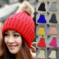 Daisy & Na New Women Winter Hats with Real Raccoon Fur Pompom Knit Hat Beanies Cap 082