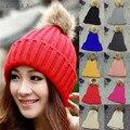 Margarida e Na nova mulheres chapéus de inverno com Real de pele Pompom malha gorros Cap 082