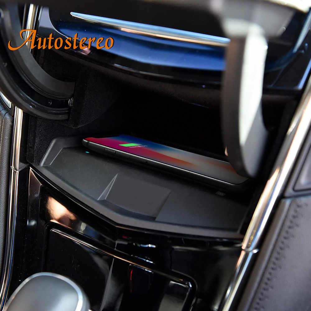 QI inalámbrico para coche cargador para Cadillac ATS-L/XTS 2017 2018 infrarroja inteligente rápido de carga inalámbrica sostenedor del teléfono del coche para iphone