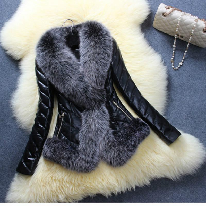Fashion PU Leather Overcoat Coat Jacket Stitching Faux Imitation Fox Fur Collar Long Sleeve faux fur turn down collar single breasted pu leather spliced woolen coat