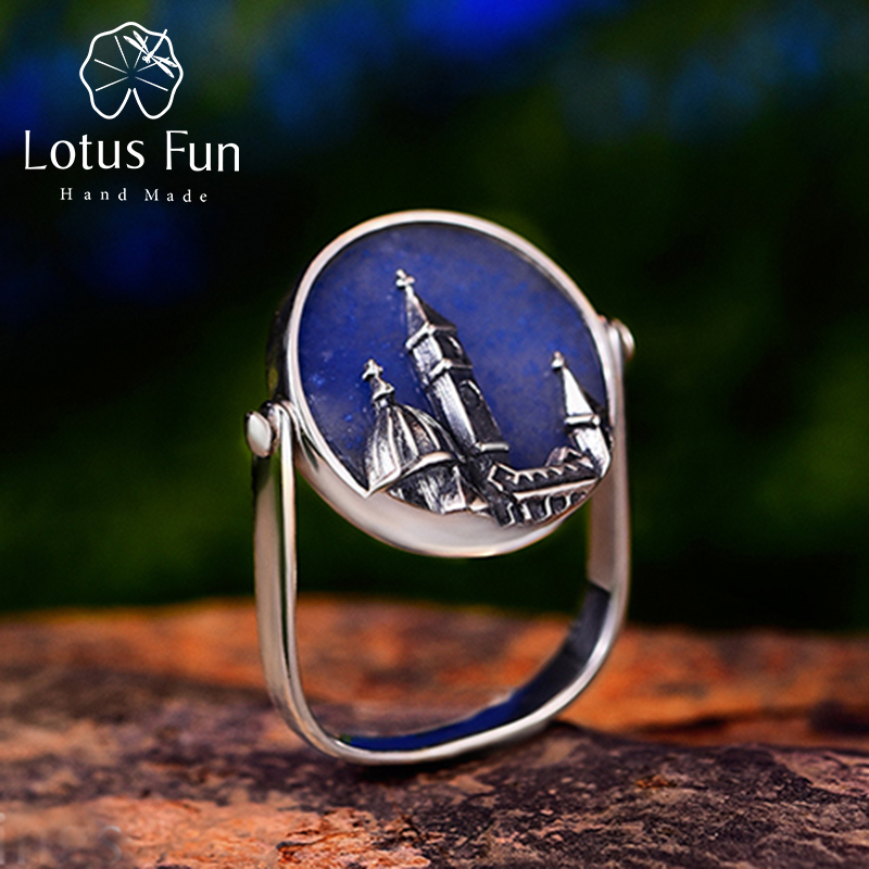 Lotus Fun Real 925 Sterling Silver Ring Natural Aventurine Handmade Fine Jewelry Florence Cathedral Rings For
