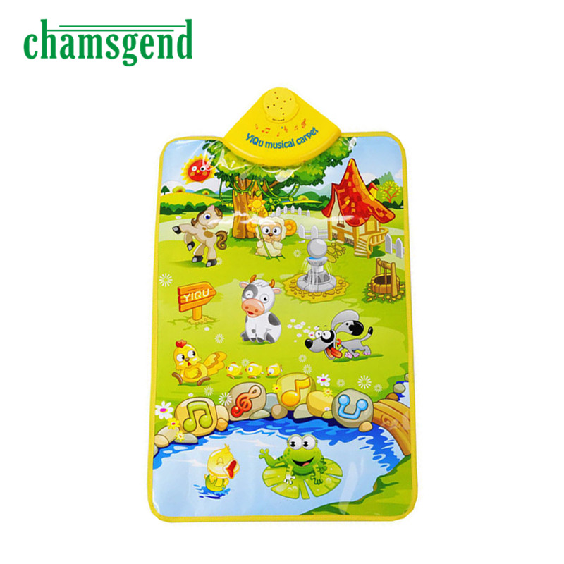 High Quality Kids Baby <font><b>Farm</b></font> Animal Musical Music Touch Play Singing Gym <font><b>Carpet</b></font> Mat Toy Gift Aug6