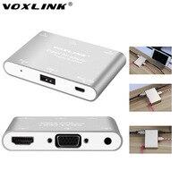 Teléfono VOXLINK 1080 P Digital AV Adaptador Multipuerto USB a HDMI/VGA/Vídeo convertidor Para el iphone 6 6 S 7 plus Ipad Samsung S7 ventanas