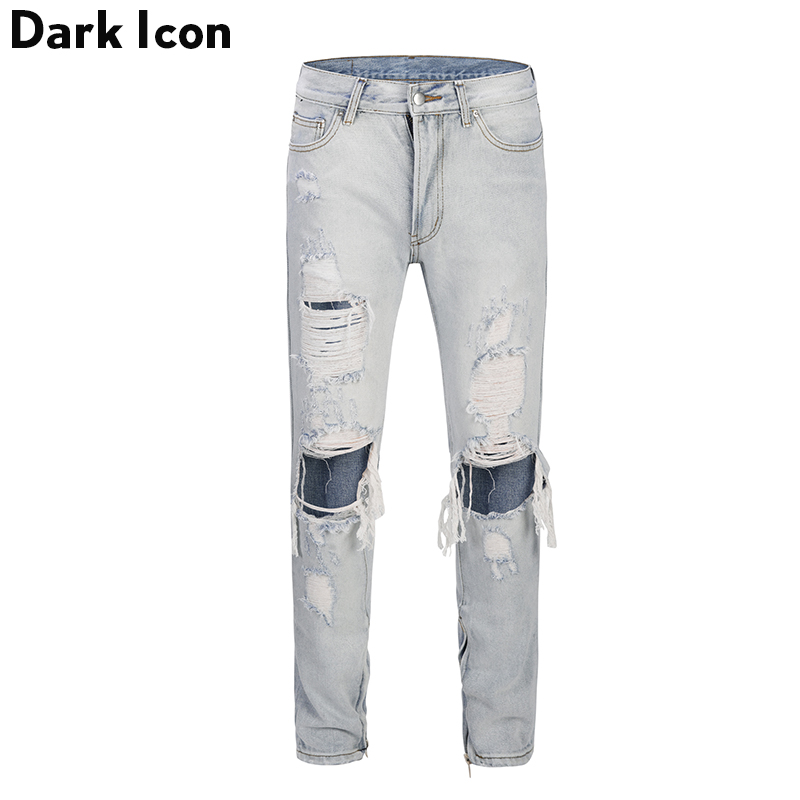 Dark Icon Stonewashed Ripped Ankle Zipper Denim Pants High Street Light Blue Jeans Men Regular Style Men's Pants