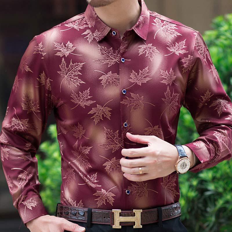 2019 new social long sleeve maple leaf designer shirts men slim fit vintage fashions men's shirt man dress jersey clothing 36565 5