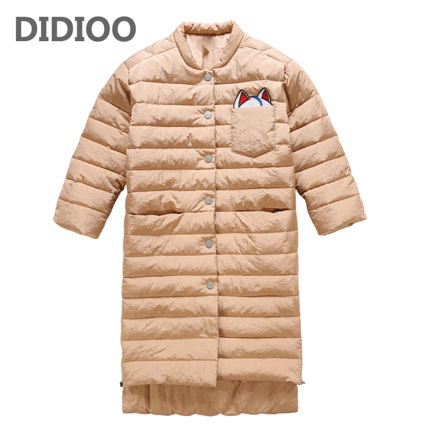 Long Winter Parka For Girls Clothing Cotton-Padded Jackets For Kids Warm Coats Cartoon Children Winter Coats 2 4 6 8 10 12 Years 2015 snow kids clothing floral printed padded thicken children coats warm girls snowsuits outfits winter jackets for baby girls