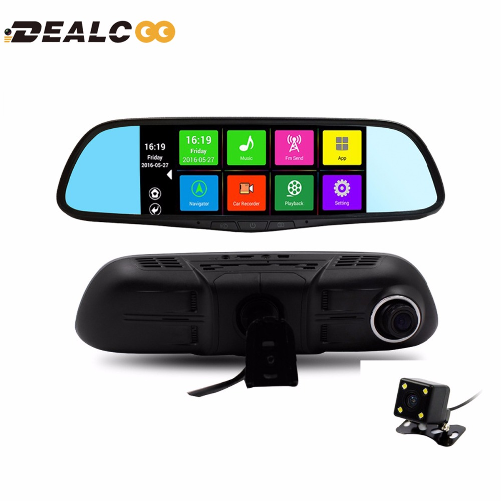 7 inch Dual Lens Car DVR Rearview Mirror Camera GPS Android 4 4 Bluetooth A33 Quad