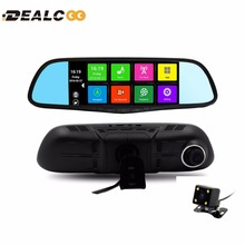 7 inch Dual Lens Car DVR Rearview Mirror Camera GPS Android 4.4 Bluetooth A33 Quad-core Full HD 1080P GPS Navigation 1GB 16GB