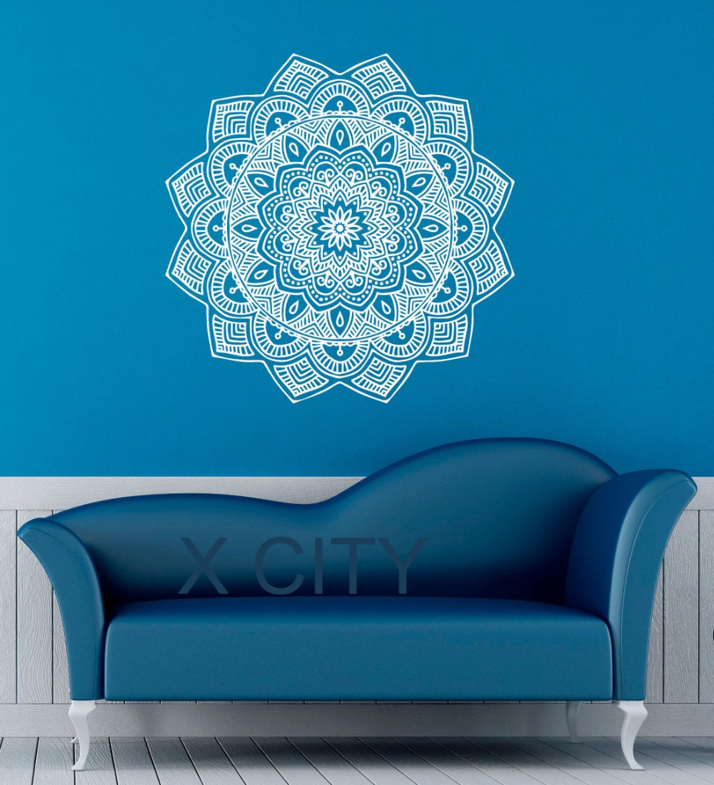 Mandala wall decal indian lotus flower pattern vinyl sticker namaste mandala wall decal indian lotus flower pattern vinyl sticker namaste yoga decor gym office home room interior design art mural in wall stickers from home izmirmasajfo