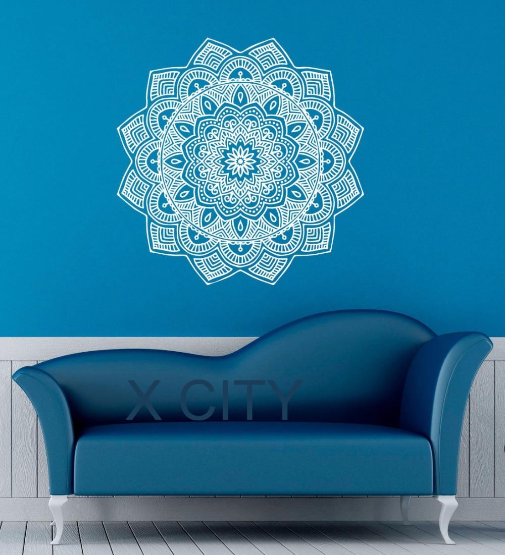 Mandala Wall Decal Indian Lotus Flower Pattern Vinyl Sticker Namaste Yoga Decor Gym Office Home