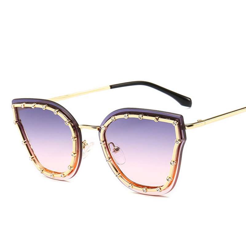 PAWXFB Brand New Luxury Diamond Cat Eye Sunglasses Women Men Vintage Fashion Alloy Sun Glasses Ladies lentes de sol in Women 39 s Sunglasses from Apparel Accessories